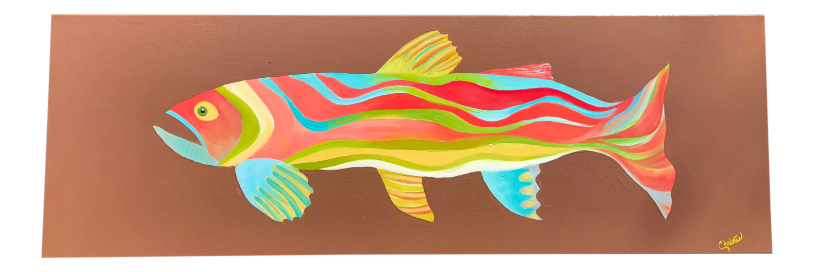 Acrylic drawing fish. Contemporary painting chairish