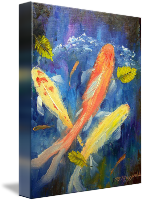 Acrylic drawing fish. Oil painting paint art