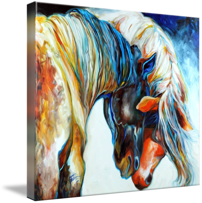 Acrylic drawing horse. Forever friends by marcia