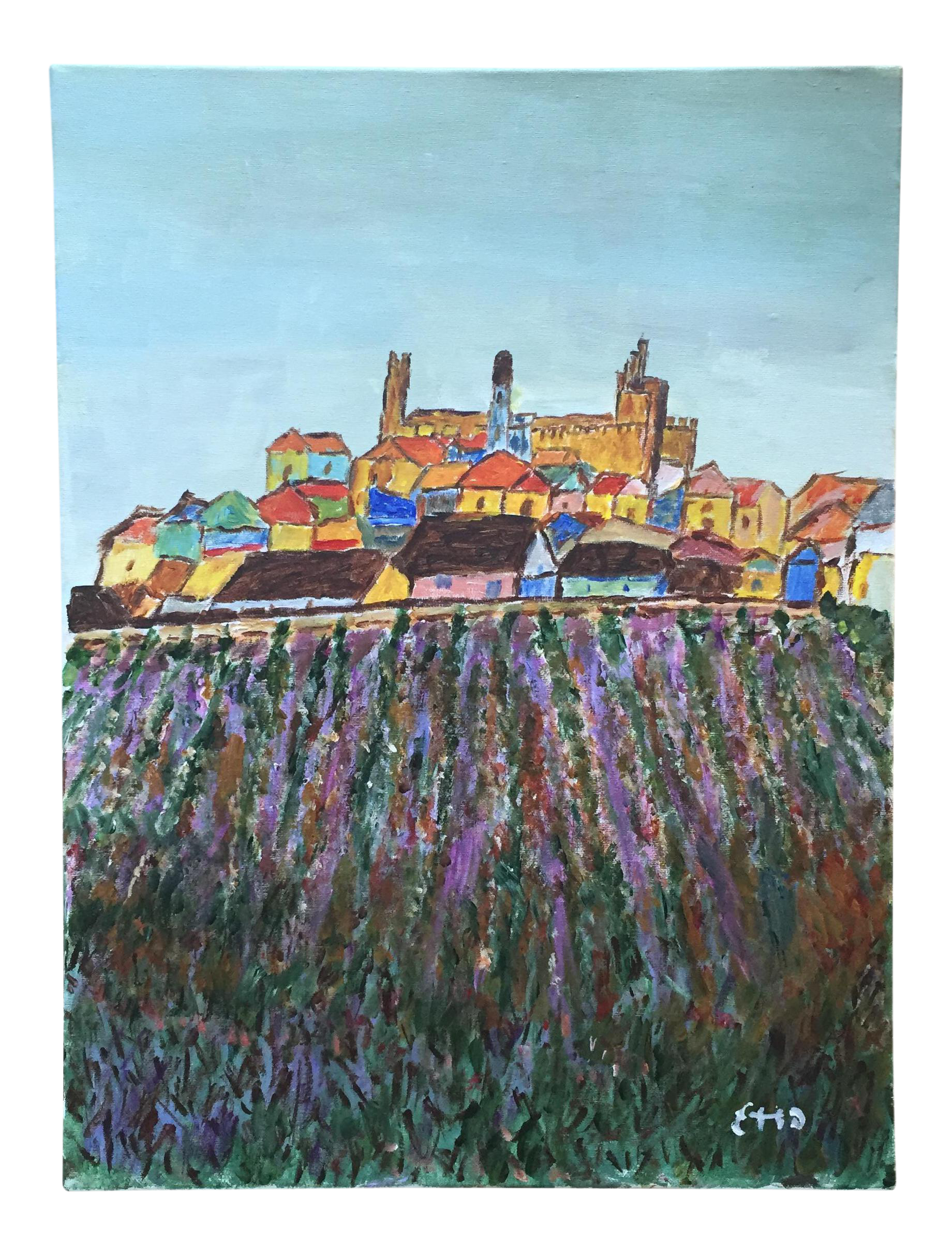 Acrylic drawing landscape. Original scenic tuscan town
