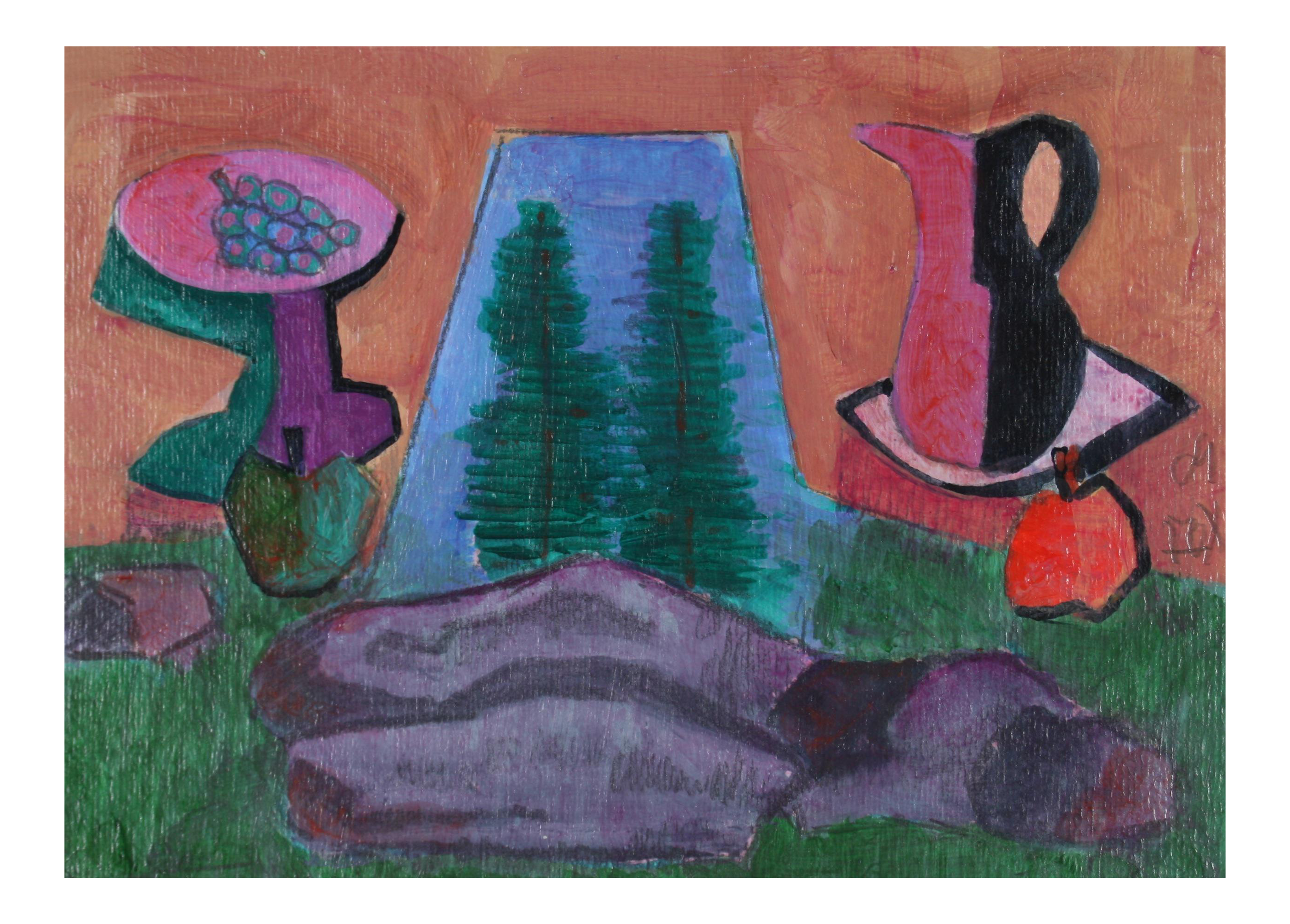 Acrylic drawing life. Picnic by rock cubist