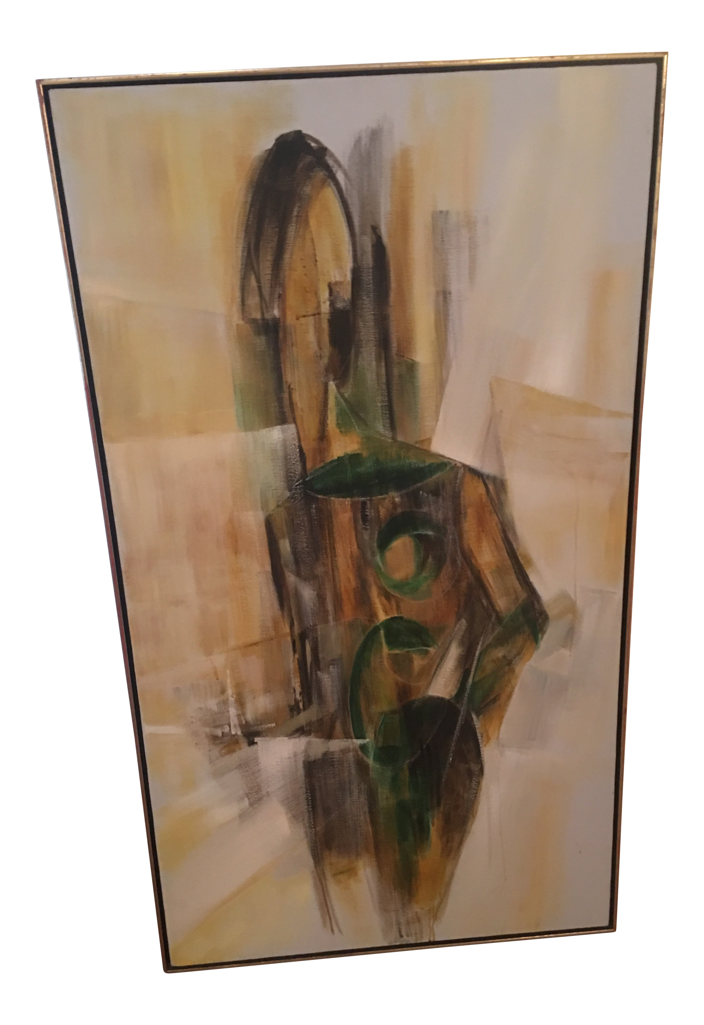Acrylic drawing life. Large abstract cubist figure