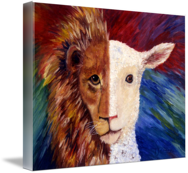 Acrylic drawing lion. The lamb is a