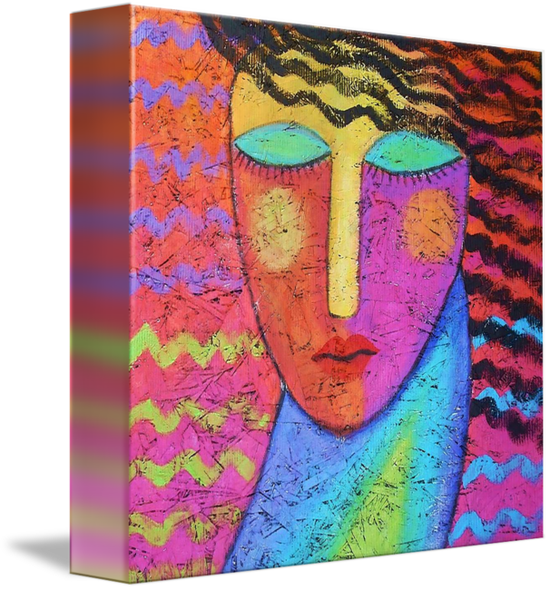 Acrylic drawing matte. Funky abstract portrait on