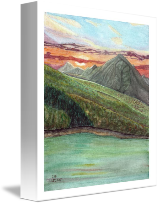 Acrylic drawing mountain. Sunset by daniel bresien