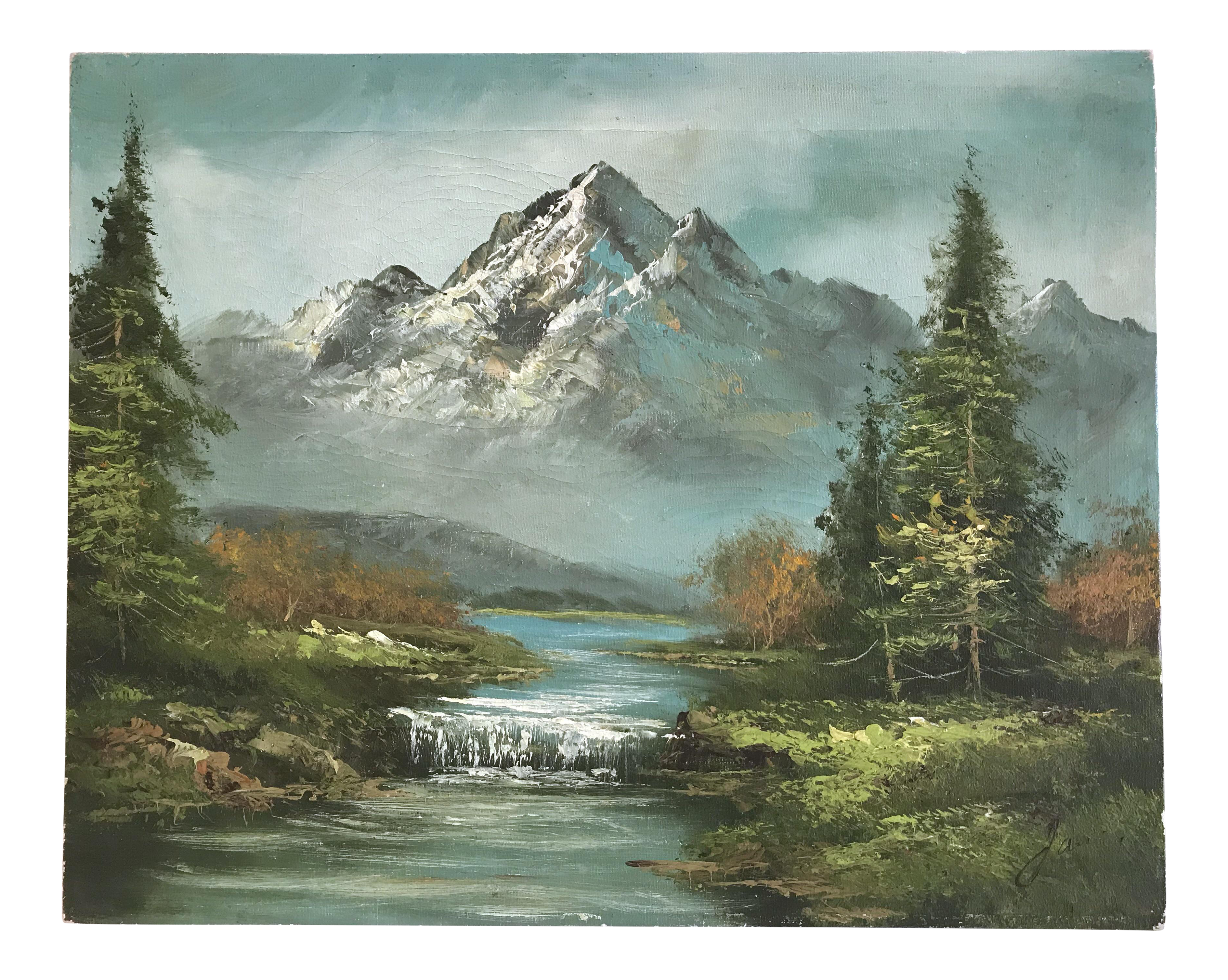 Acrylic drawing mountain. Oil painting of stream