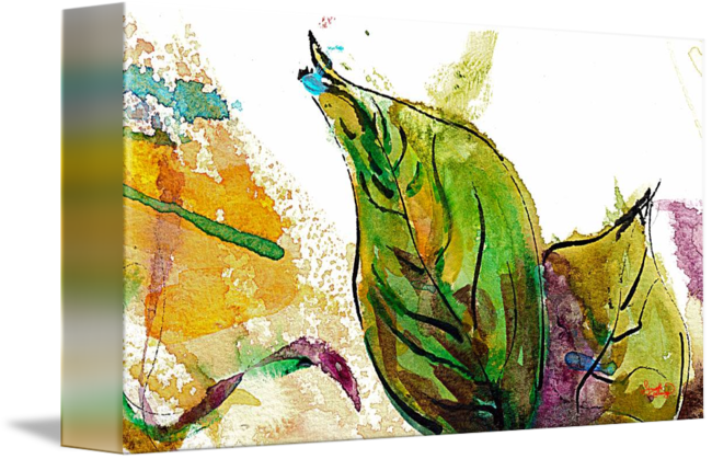 Acrylic drawing nature. Modern art leaf watercolor