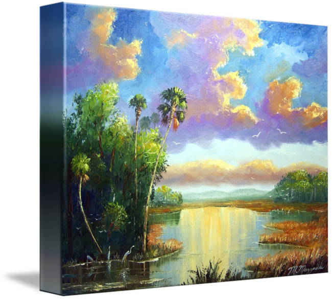 Acrylic drawing nature. Old florida splendor painting