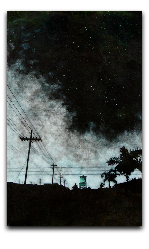 Acrylic drawing night sky. Amy paul watch water