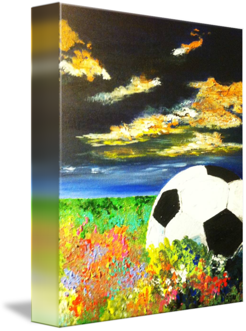 Acrylic drawing night sky. Soccer by maru mercado