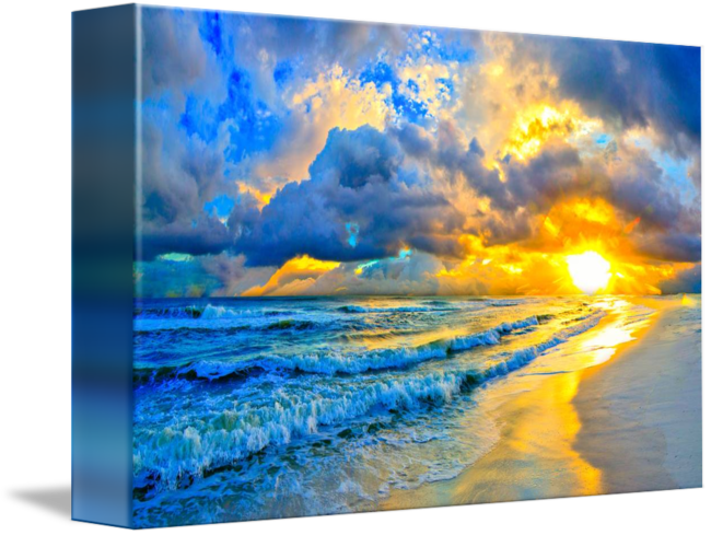 Blue drawing sunset. Beautiful ocean and waves