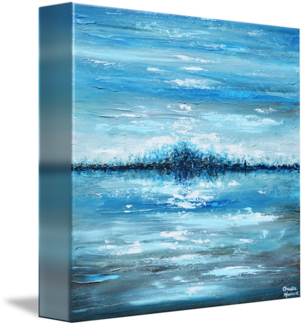 Acrylic drawing ocean. Moonlight blues by christine