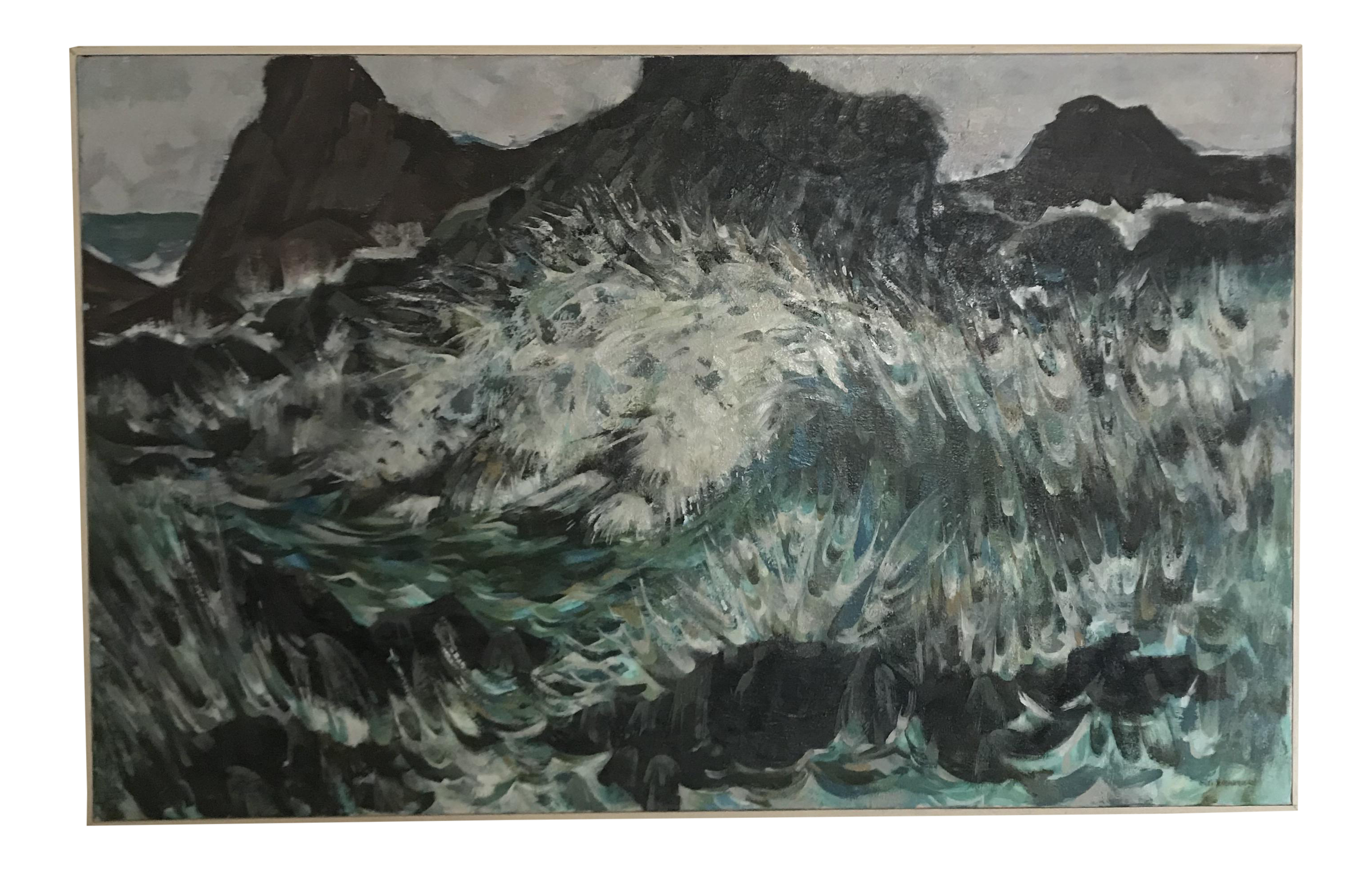 Acrylic drawing ocean. Impressionist painting chairish