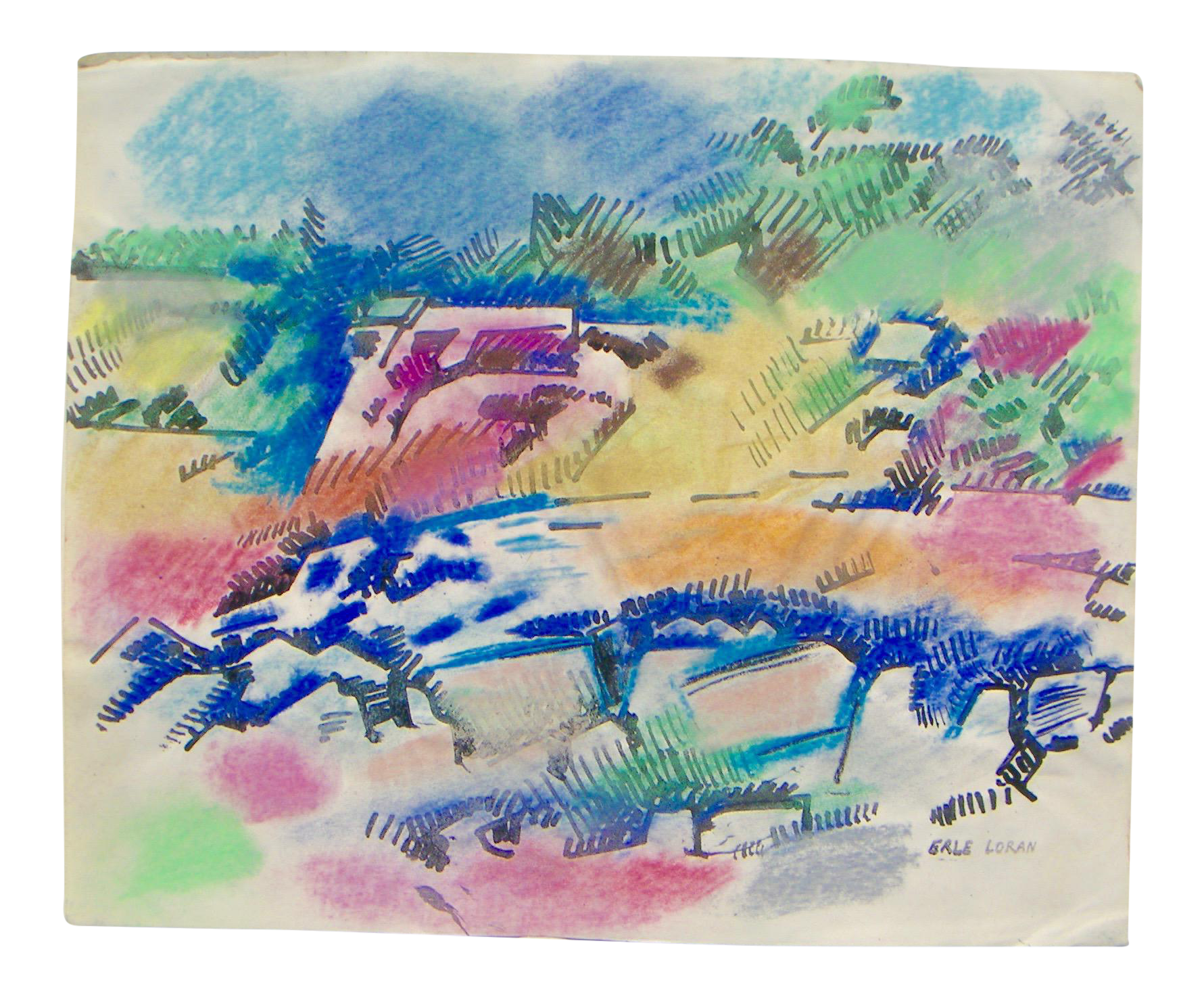 Hd drawing oil pastel. Erle loran abstract painting
