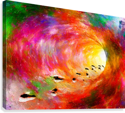 Acrylic drawing outer space. Footprints of a soul