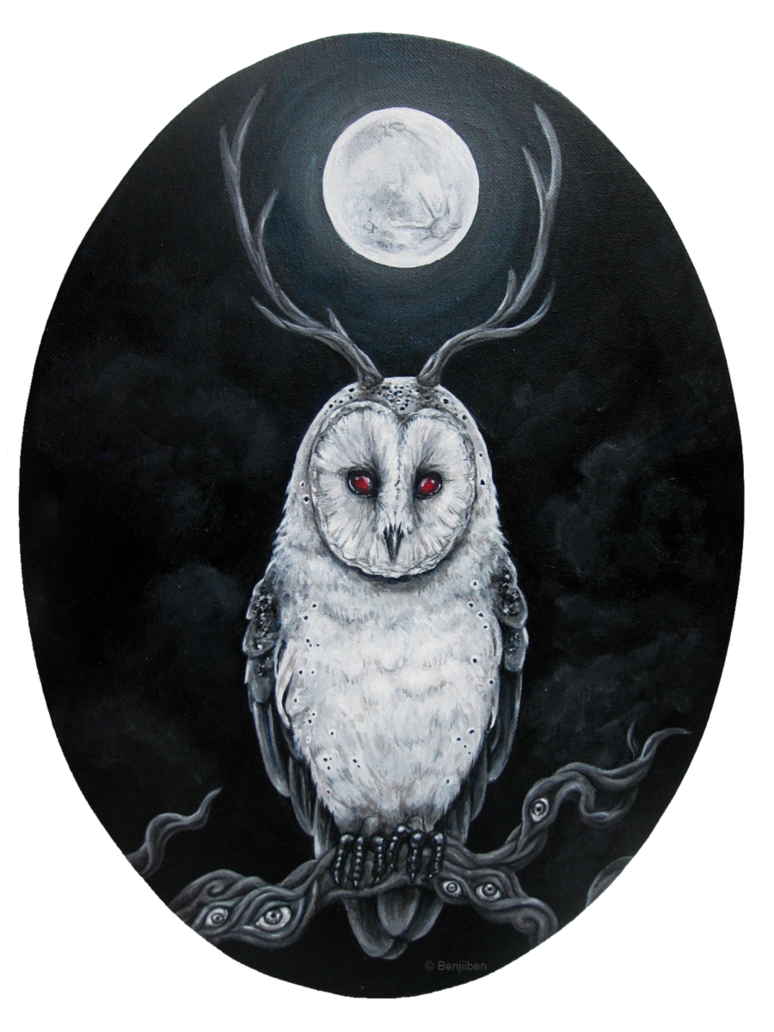Acrylic drawing owl. In the night by