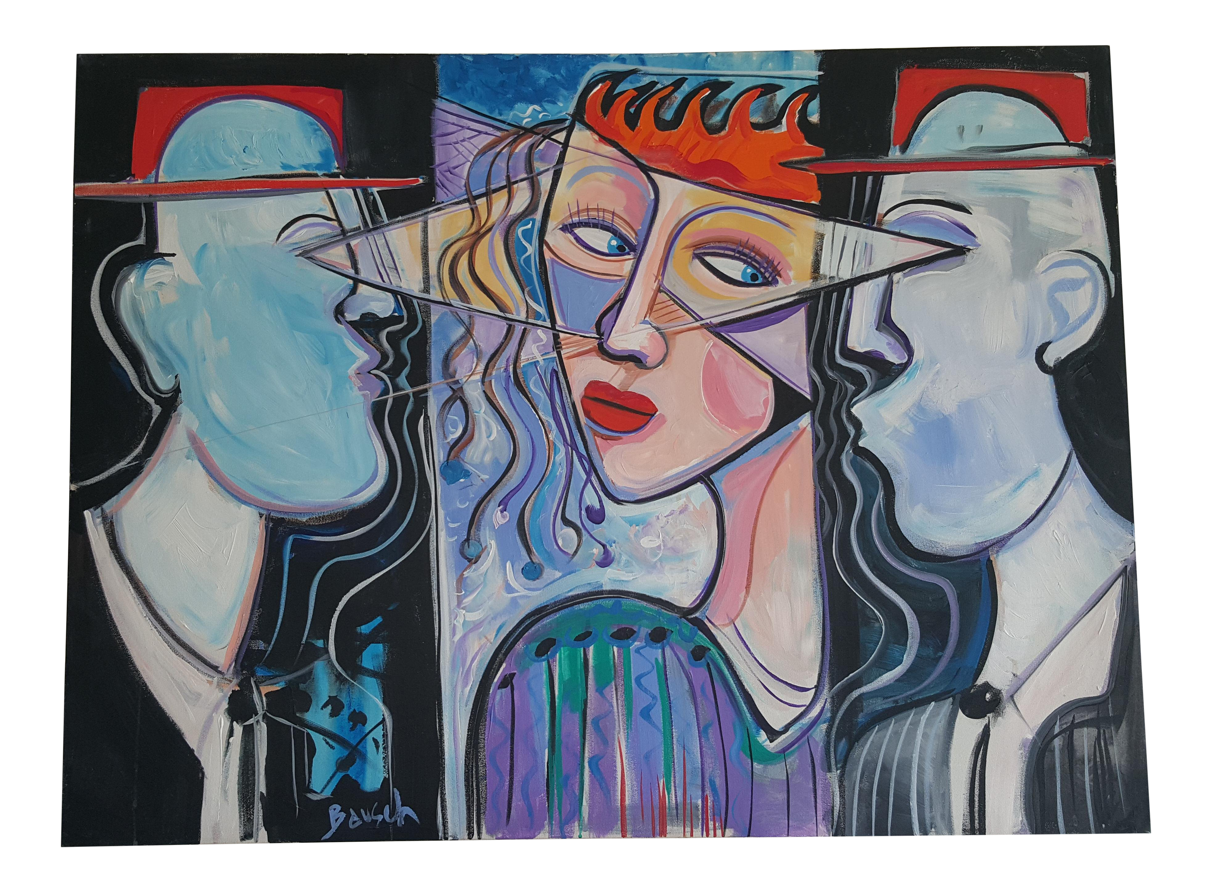 Acrylic drawing paint. Picasso style painting by