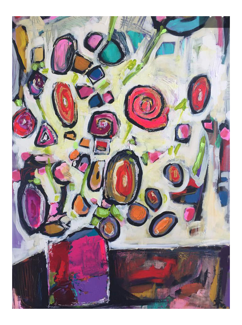 Acrylic drawing painting. Abstract flowers chairish