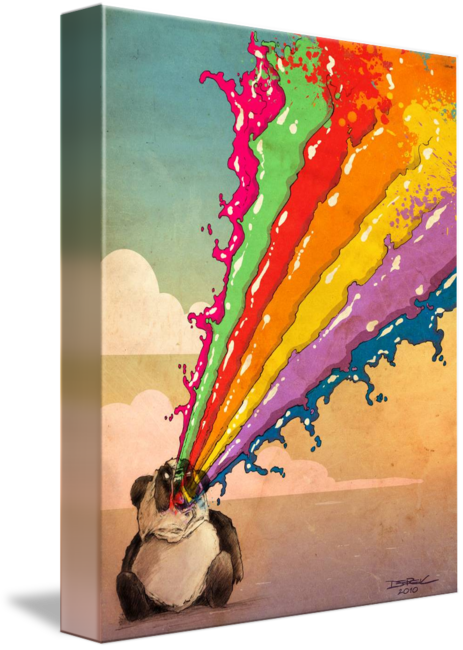 Acrylic drawing rainbow. Perturbed vomiting panda by