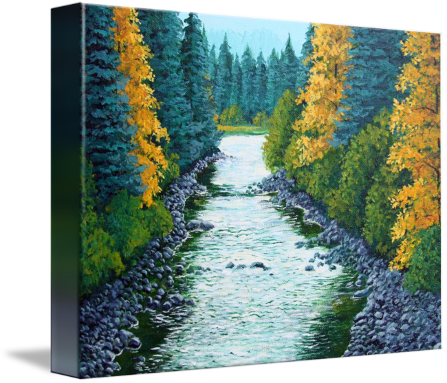Acrylic drawing river. Wild melodies by lorraine