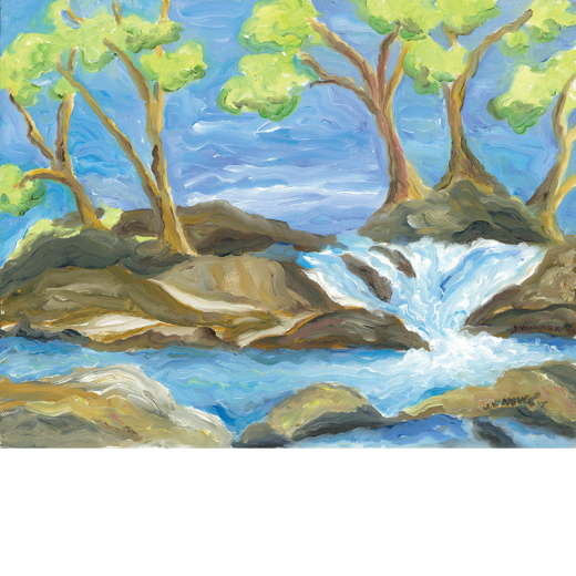 Acrylic drawing scenery. Rocky river beside the