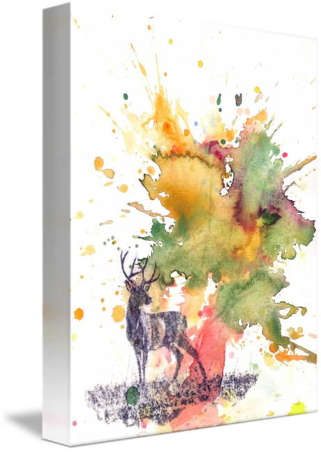Acrylic drawing deer. Buck silhouette by isabelle