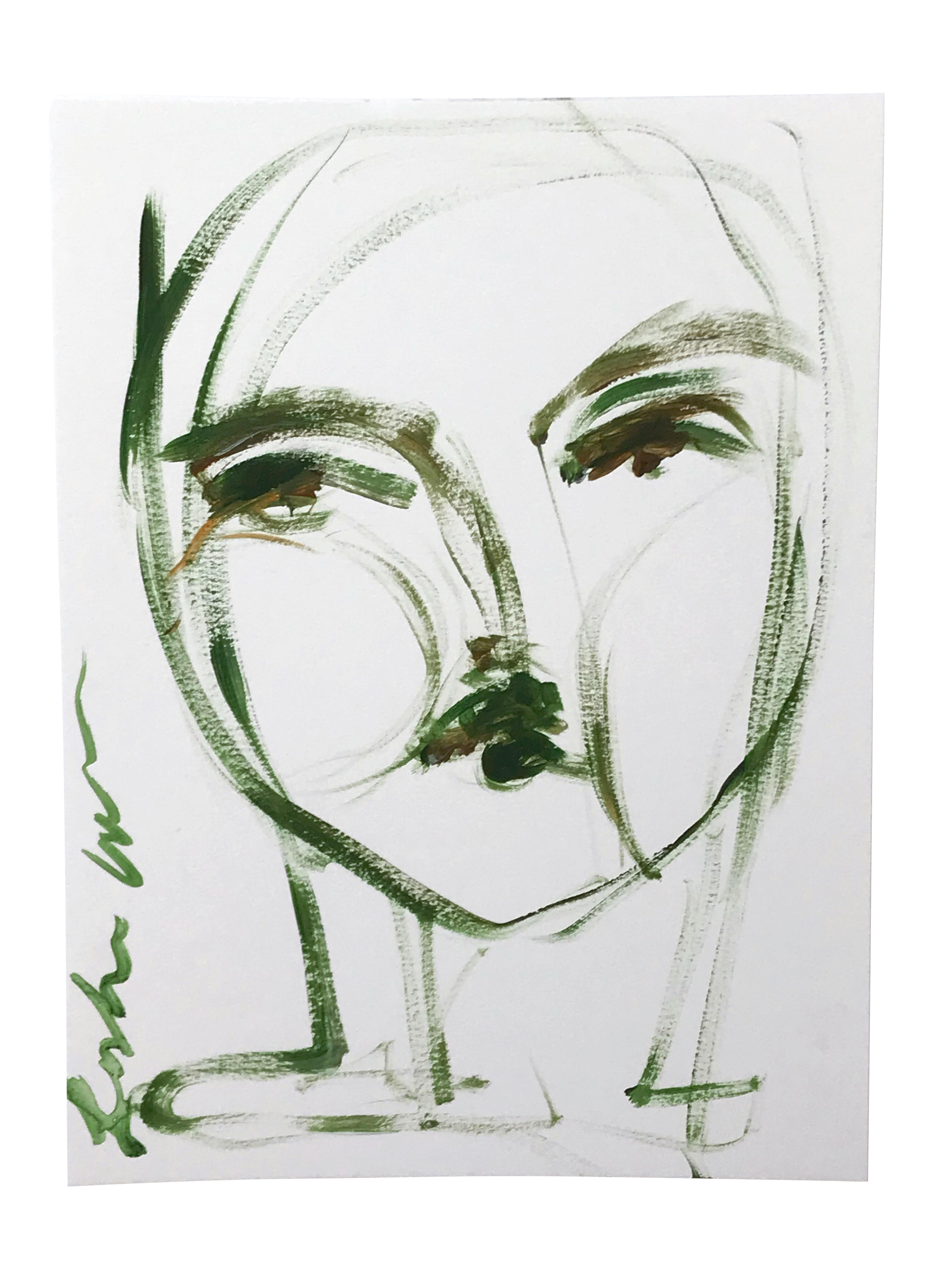 Acrylic drawing simple. Green face painting chairish