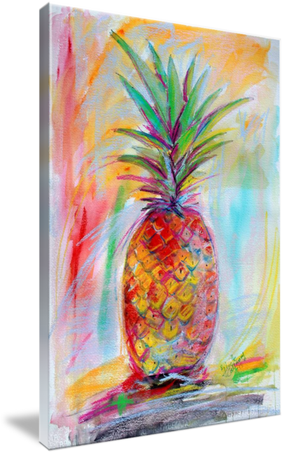 Acrylic drawing simple. Aloha pineapple mixed media