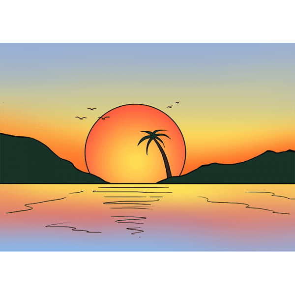 Morning drawing scenery. Sunset easy how to