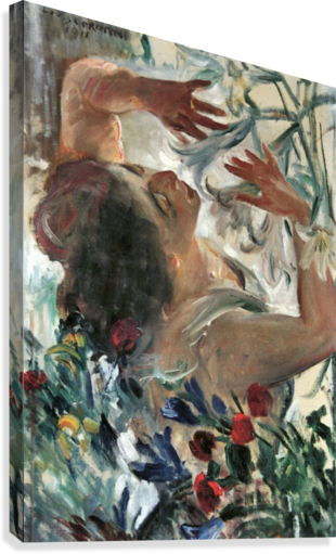 Acrylic drawing woman. With lilies in the