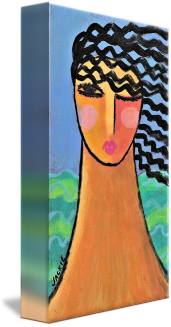 Acrylic drawing woman. By the ocean abstract