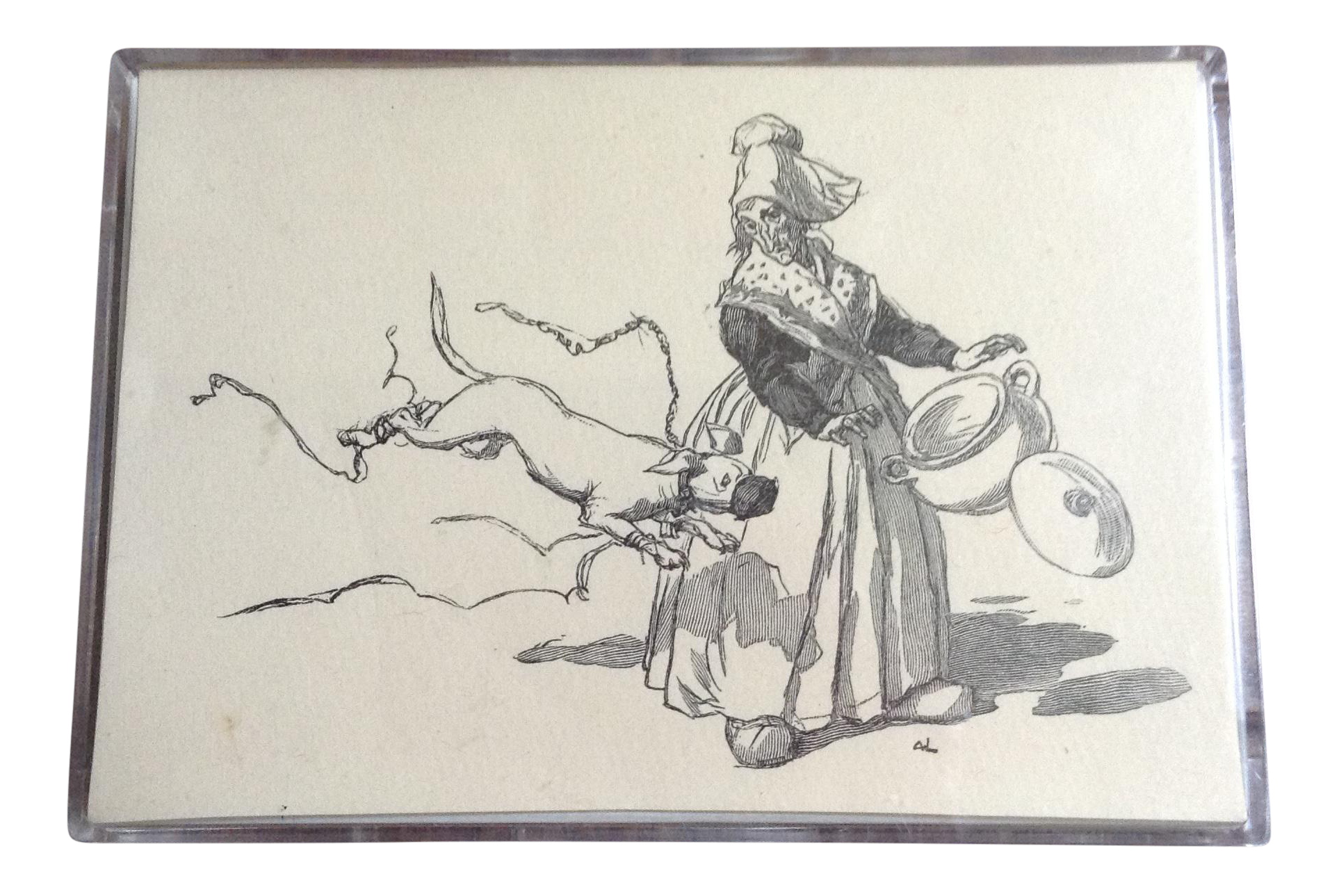 Acrylic drawing woman. Vintage french country engraving