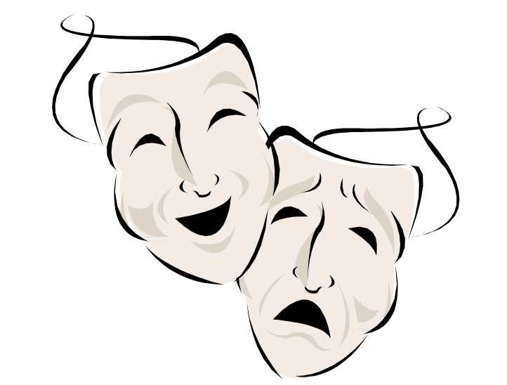 Drama theatre play tragedy. Acting drawing clip stock