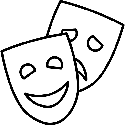 Acting tragedy comedy art. Theater vector black mask clipart black and white library