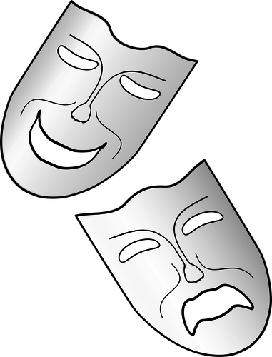 Acting drawing cool. Comedy and tragedy masks