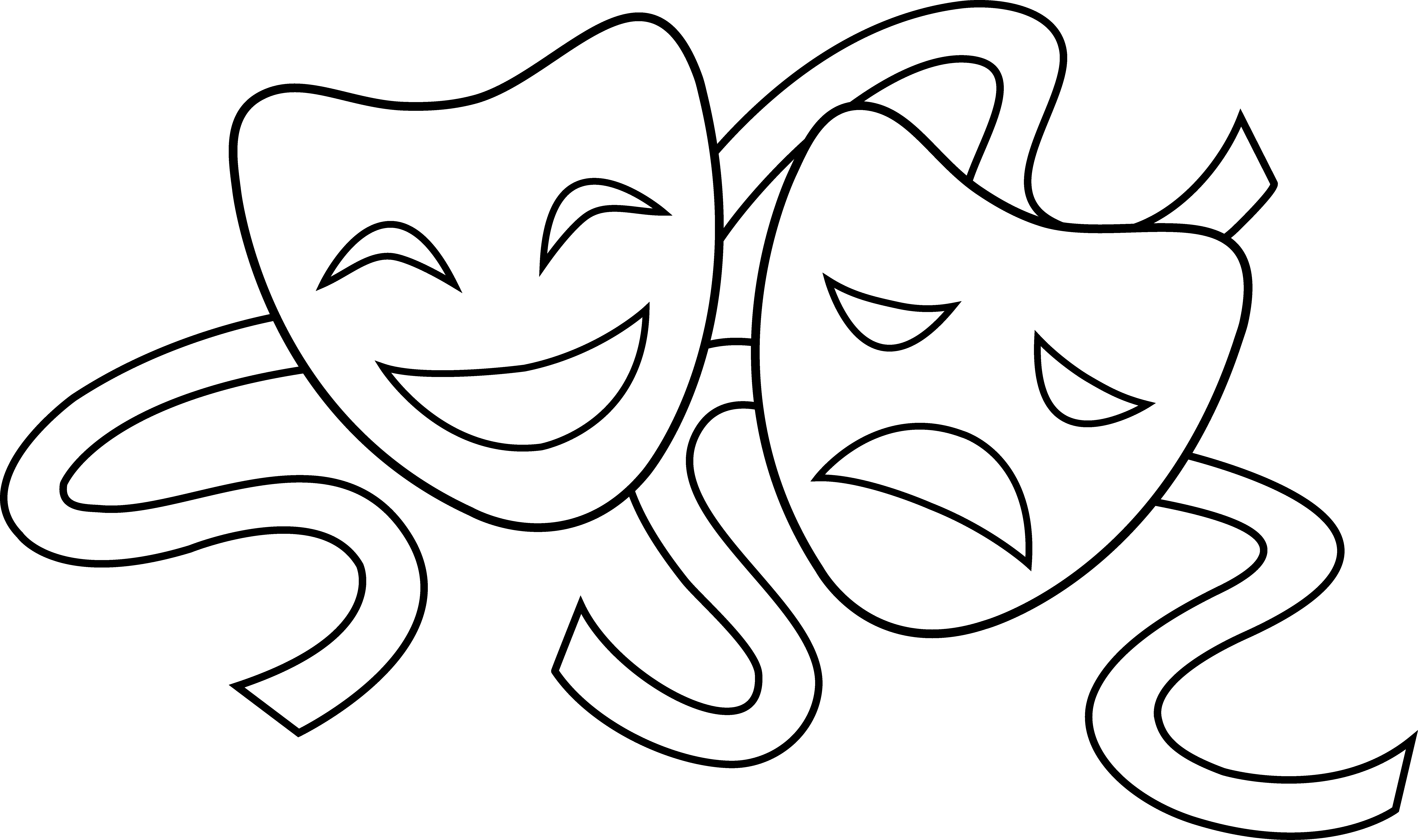 Theater masks outline signs. Cinema clipart drama greek mask vector freeuse stock