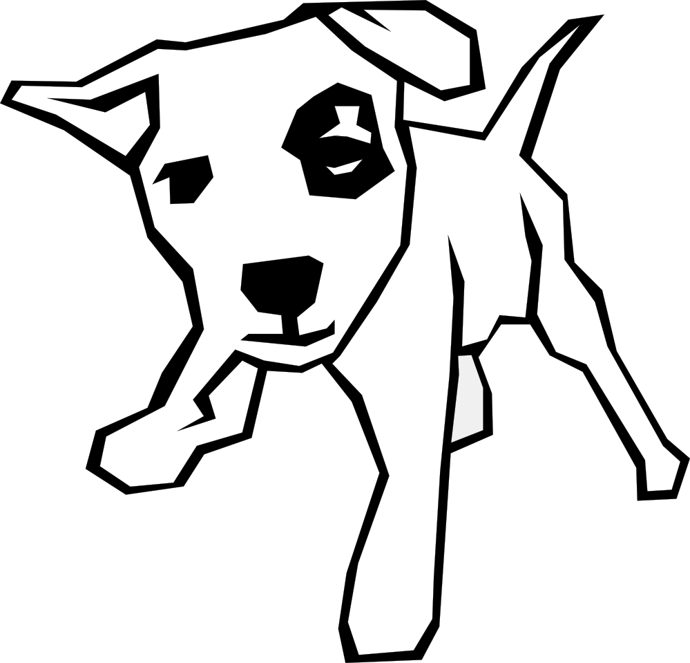Acting drawing simple. Dog black white line