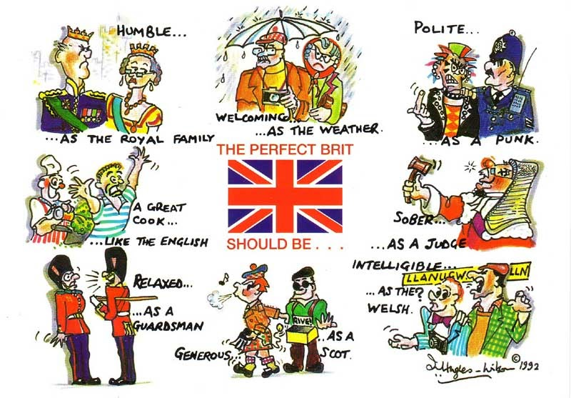 Activities clipart stereotype. English stereotypes