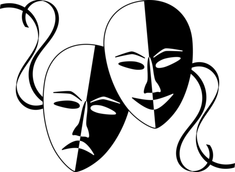 Musical theatre mask drama. Acting drawing traditional picture stock