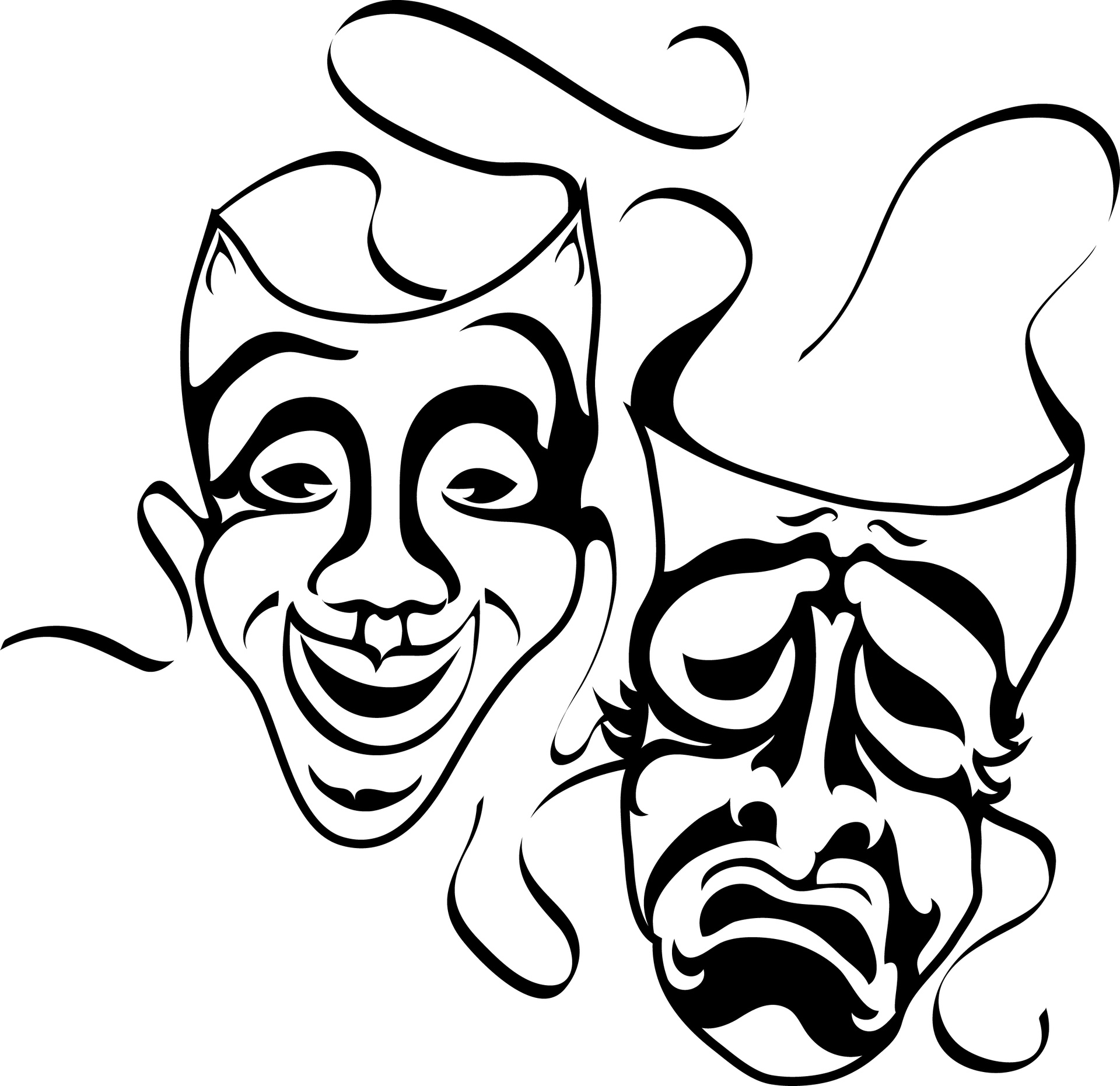 Actor clipart greek mask. How to draw drama