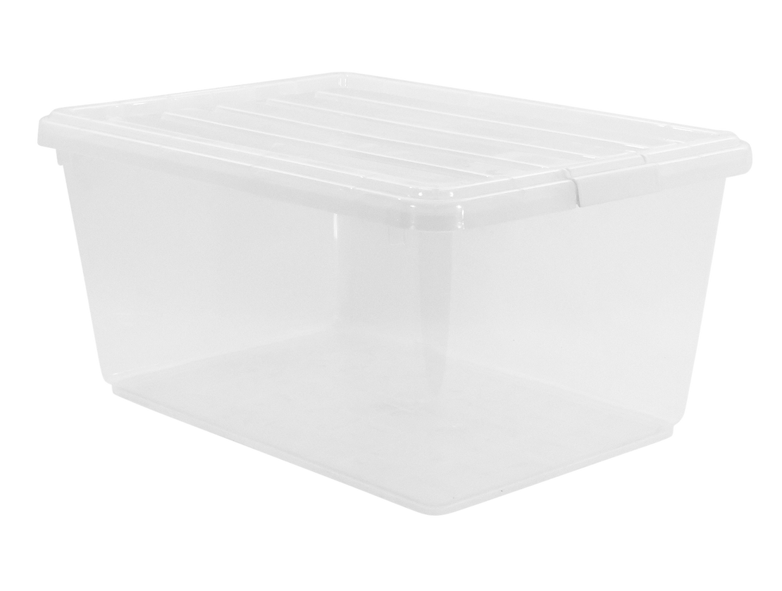 Adjustable clip plastic. Clear lid box large