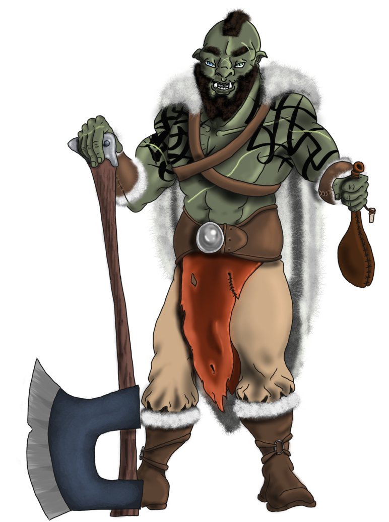 Adventurer drawing orc. D half barbarian by