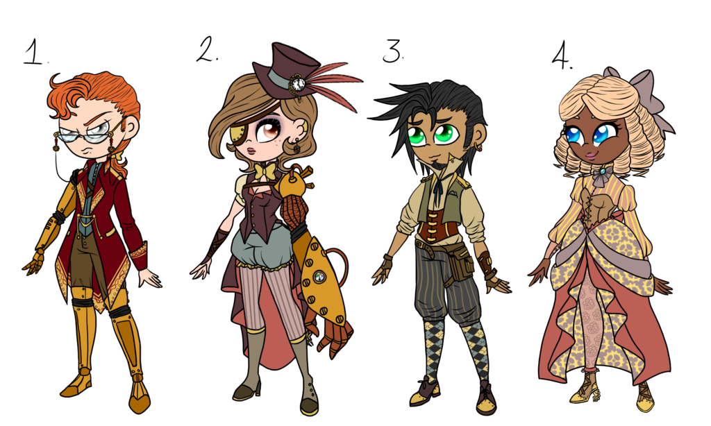 Adventurer drawing steampunk. Adopts by teacozy on