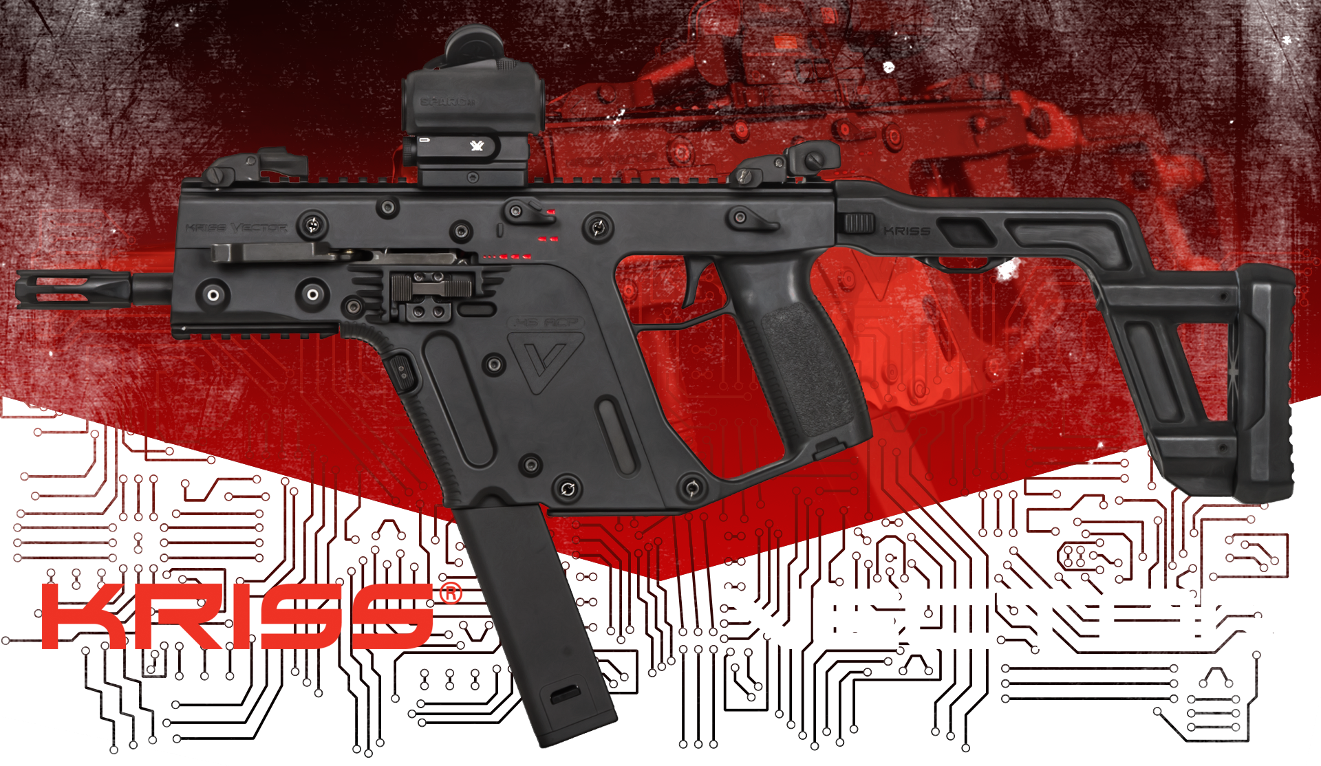 Krytac kriss smg airsoft. Vector submachine clip art library