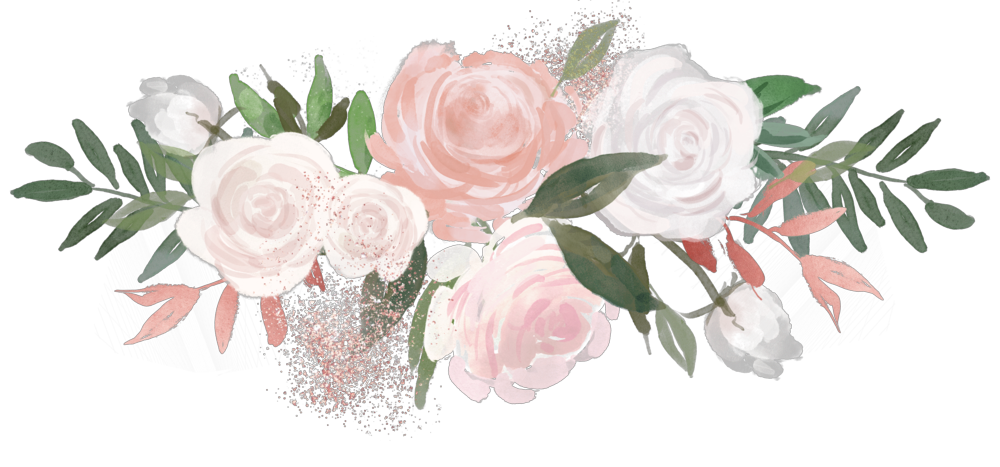 flower overlay rose aesthetic painting pink green white