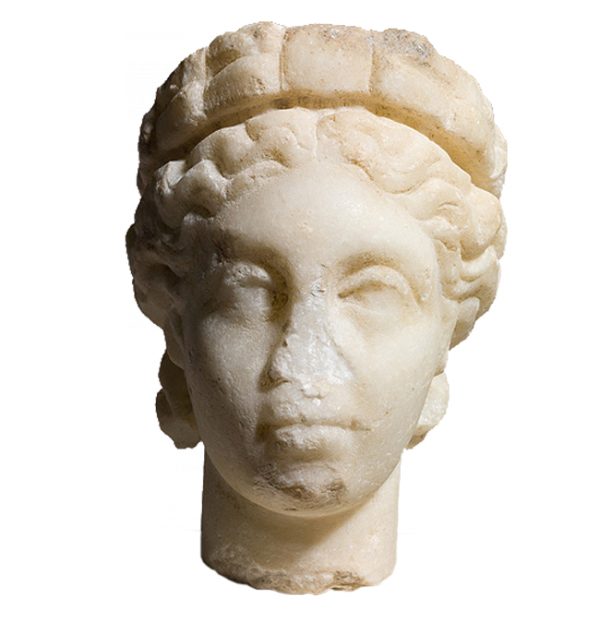 Aesthetic statue head png. Of a woman wearing