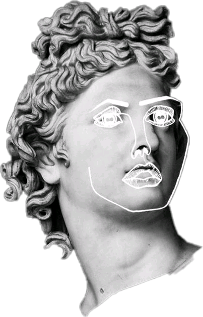 Aesthetic statue head png. Vaporwave outline report abuse