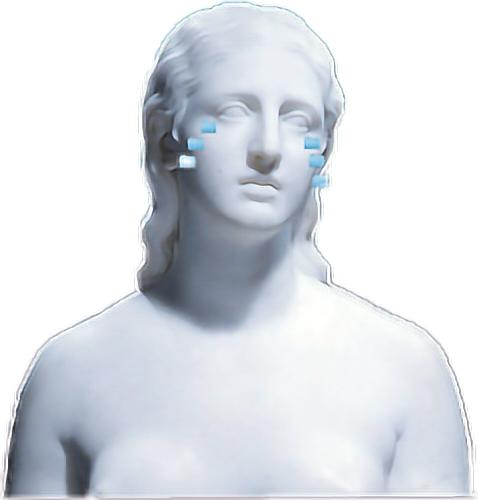Vaporwave statue transparent png. Aesthetic crystatue white