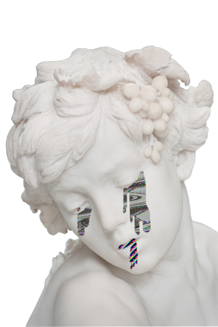 Aesthetic statue png. Trasparent vaporwave glitch a