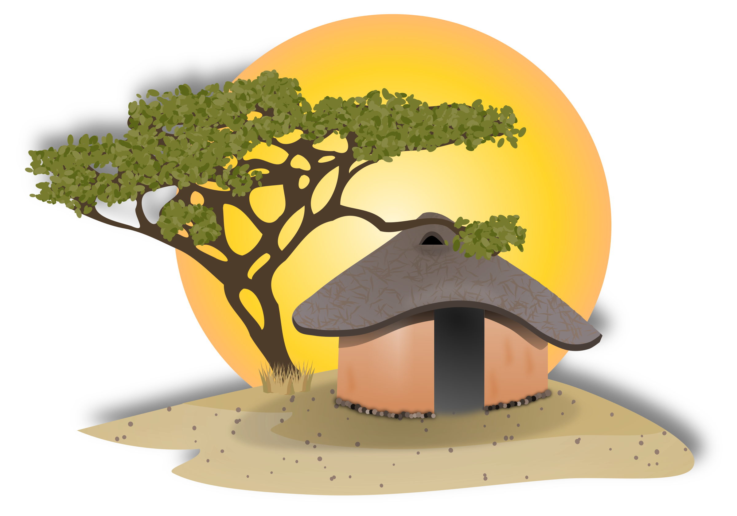 African hut drawing at. Cottage clipart straw roof graphic black and white download